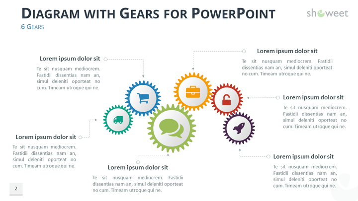 Gears Diagrams for PowerPoint - Showeet.com
