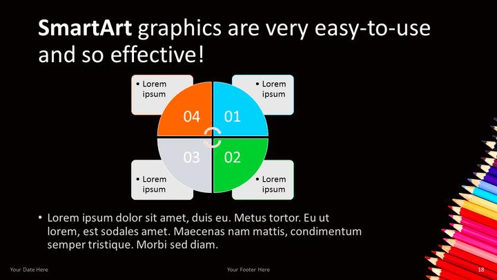 Pencils Free PowerPoint Template – Smartart Powerpoint Template