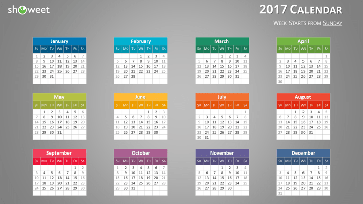 Colorful 2017 calendar for powerpoint and keynote free 2017 calendar for powerpoint week starts sunday dark background toneelgroepblik