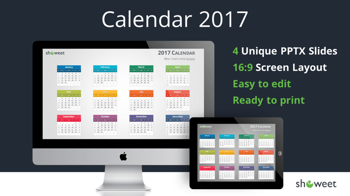 Colorful 2017 Calendar For Powerpoint And Keynote