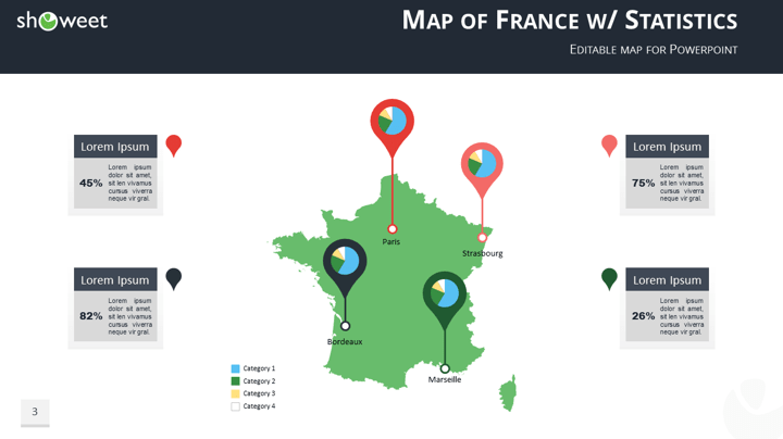 Map of France Templates for PowerPoint