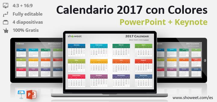 Calendario 2017 PowerPoint y Keynote gratis