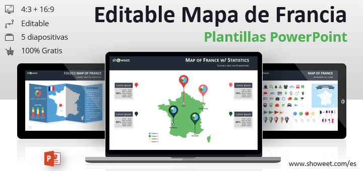 Mapa editable gratis de Francia para presentaciones de PowerPoint