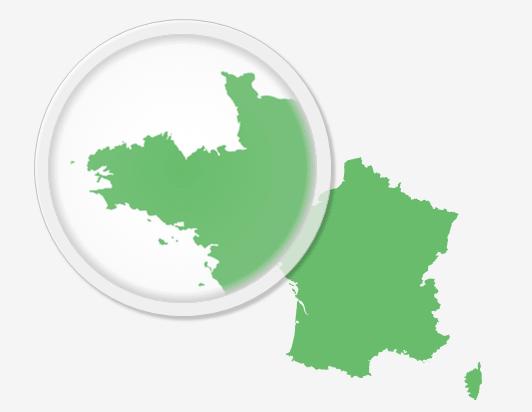 Contours détaillés de la carte de France pour PowerPoint