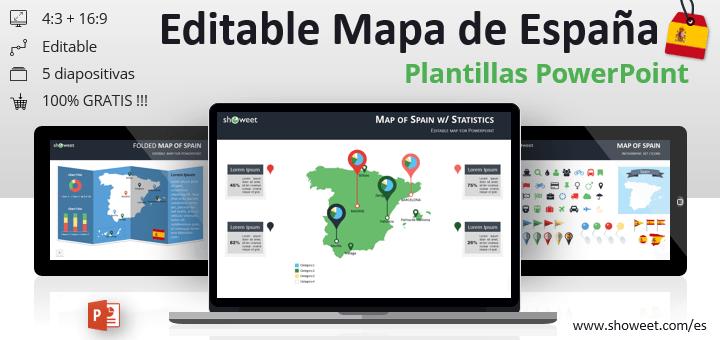Mapa editable gratis de España para presentaciones de PowerPoint