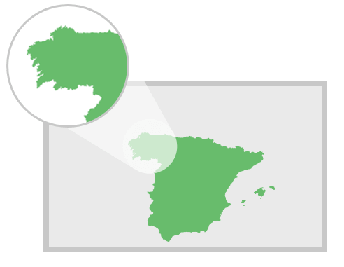 Finely detailed outline map of Spain for PowerPoint