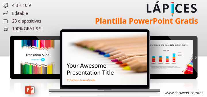 Lápices - Plantilla gratuita para PowerPoint