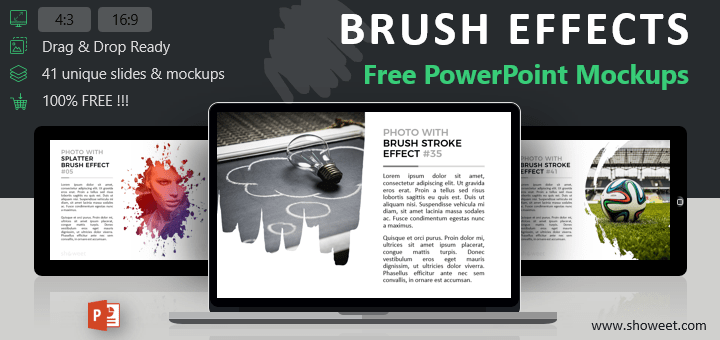 Free creative brush effect mockup collection for PowerPoint