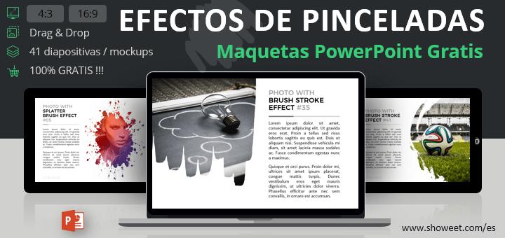 Maquetas gratuitas para PowerPoint con efectos de pinceladas