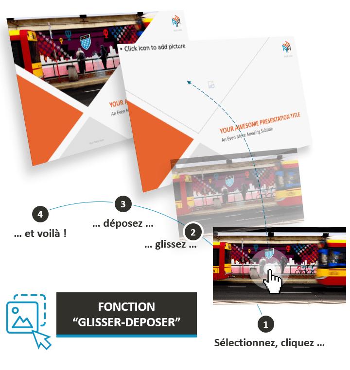 """Corporate – Modèle PowerPoint Business optimisé avec la fonction """"Glisser - Déposer"""""""