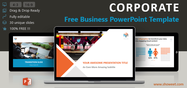 Corporate business powerpoint template free business powerpoint template with professional design and modern color theme toneelgroepblik Gallery