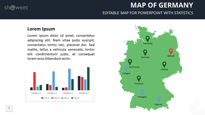 Map of germany templates for powerpoint editable map of germany free powerpoint template toneelgroepblik Gallery