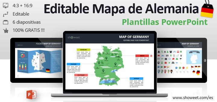 Mapa editable gratis de Alemania para PowerPoint