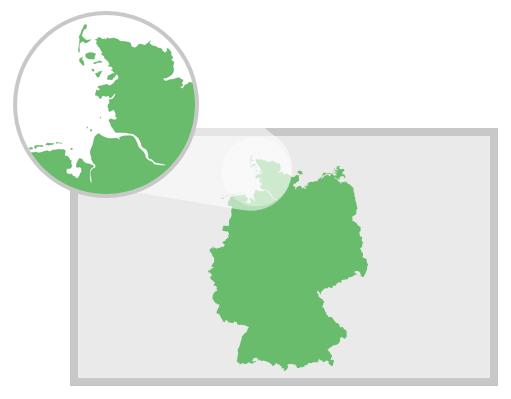 Contours détaillés de la carte d'Allemagne pour PowerPoint