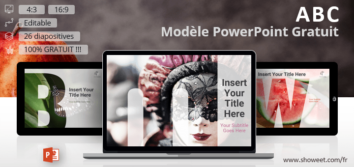 Modèle gratuit PowerPoint avec les 26 lettres de l'alphabet