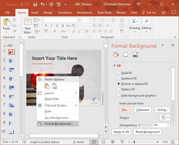 Plantilla PowerPoint ABC - Simplemente agregue su foto de fondo para obtener un mejor efecto o resultado