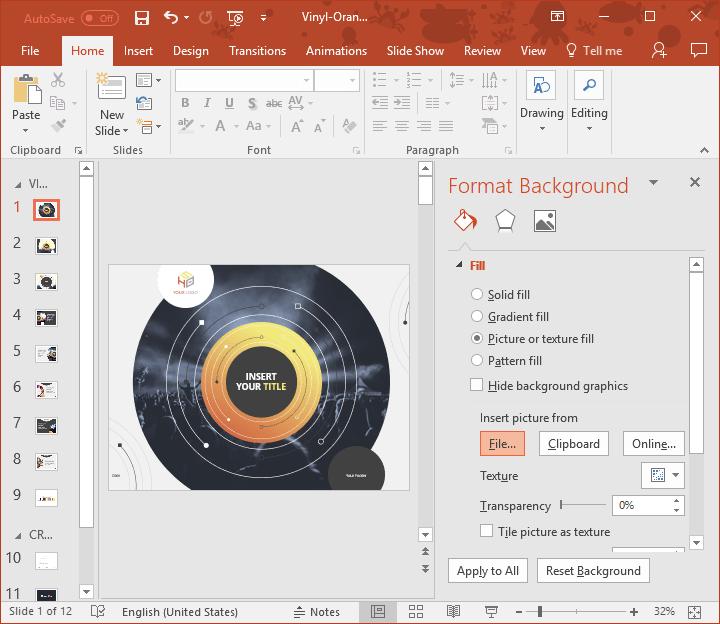 Como insertar su foto en el fondo de la plantilla PowerPoint 'Vinilo'?