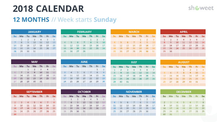 2018 calendar powerpoint templates free calendar 2018 powerpoint template 12 months week starts sunday colors pronofoot35fo Gallery
