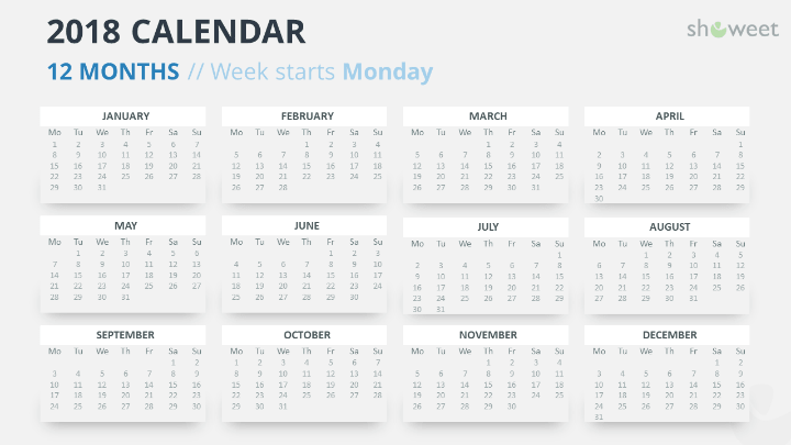 free calendar 2018 powerpoint template 12 months week starts monday gray 2