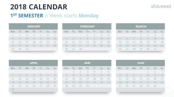 free calendar 2018 powerpoint template 1st first semester week starts monday