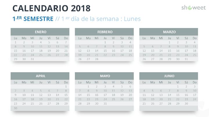 Ejemplo de diapositiva de calendario 2018 con 6 Meses (Semestres)