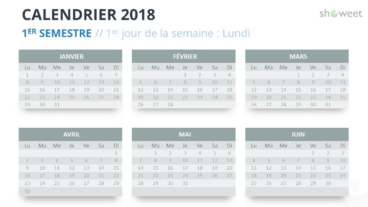 Calendrier 2018 pour PowerPoint - 1er Semestre