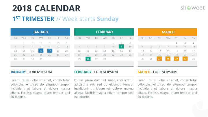 2018 calendar powerpoint templates free calendar 2018 powerpoint template 1st first week starts sunday toneelgroepblik Images