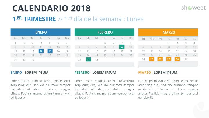 Ejemplo de diapositiva de calendario 2018 con 3 Meses (Trimestres)