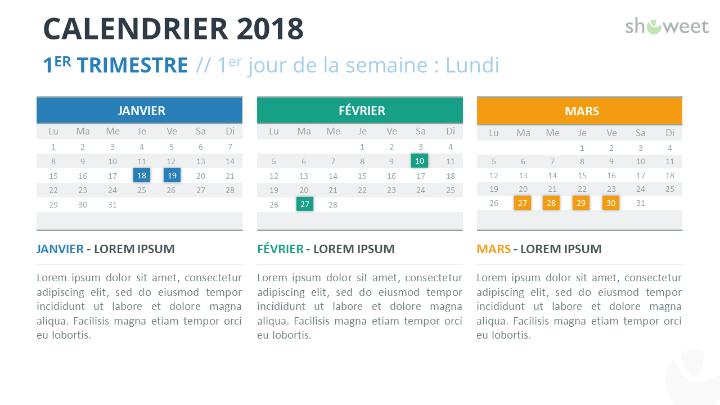 Calendrier 2018 pour PowerPoint - 1er Trimestre