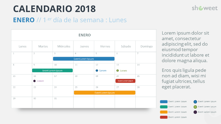 Ejemplo de diapositiva de calendario 2018 con 1 Mes (ENERO 2018)