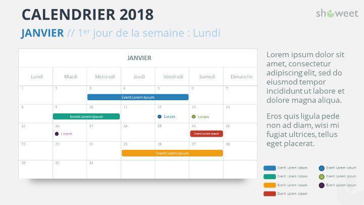 Calendrier 2018 pour PowerPoint - JANVIER