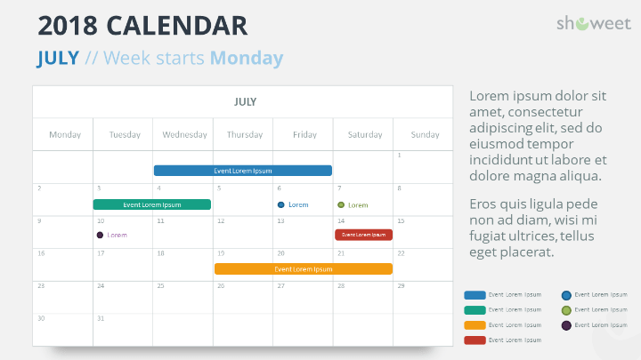 free calendar 2018 powerpoint template july 2018 week starts monday