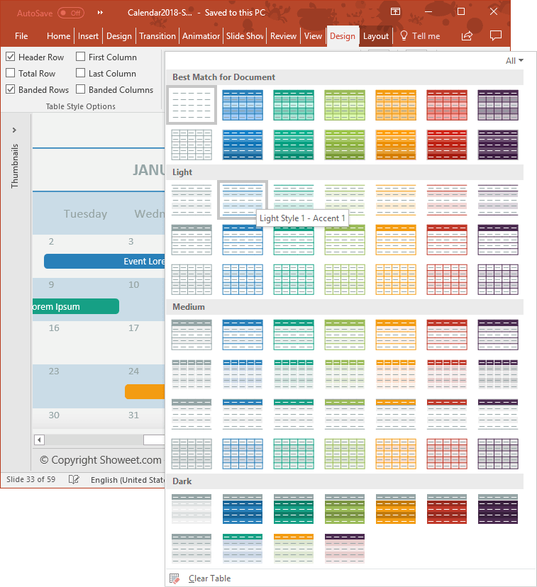 Calendar 2018 PowerPoint Table Design Customization