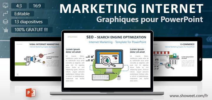 Collection gratuite de modèles graphiques sur le thème du marketing Internet pour présentations PowerPoint