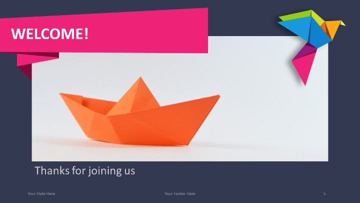 Origami creative powerpoint template origami powerpoint template welcome slide toneelgroepblik Image collections
