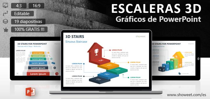 """Colección gratuita de plantillas sobre el tema """"escaleras 3D"""" para presentaciones de PowerPoint."""