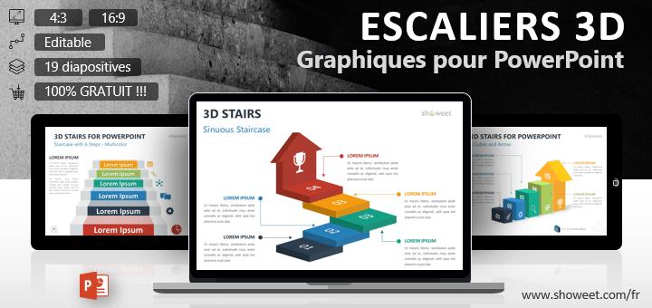 Collection gratuite de modèles graphiques d'escaliers en 3D pour présentations PowerPoint