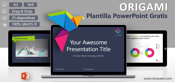 Origami - Plantilla creativa y gratis para PowerPoint