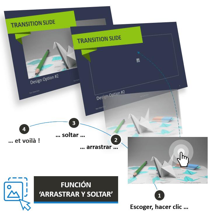 La plantilla Origami para PowerPoint está diseñada con la función Arrastrar y Soltar
