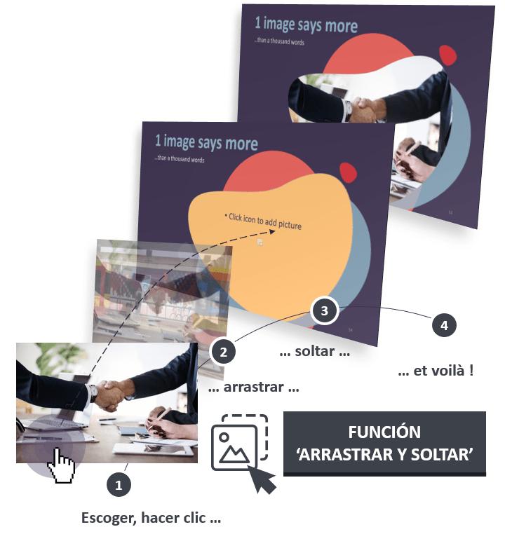 La plantilla Bubbler para PowerPoint está diseñada con la función Arrastrar y Soltar