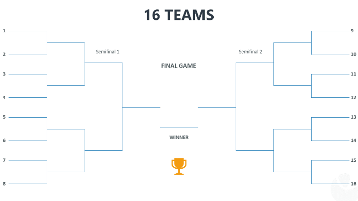 Tournament Bracket Template For Point With 2 Sides 16 Teams