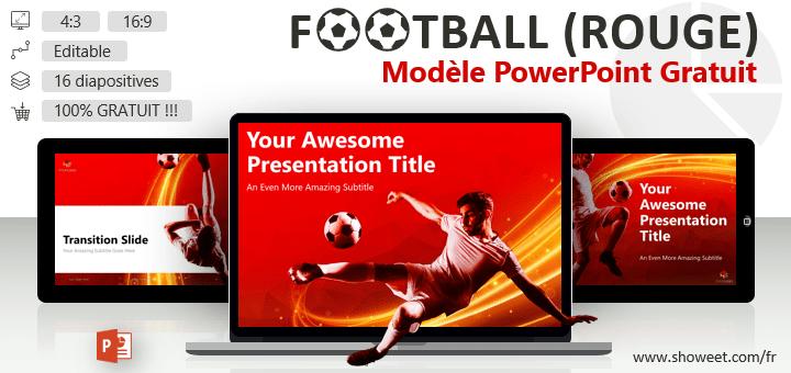 Football - Modèle PowerPoint Moderne et Gratuit (version Rouge)