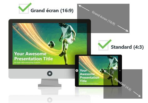 Football (Vert) - Modèle PowerPoint Gratuit aux formats Grand écran et Standard