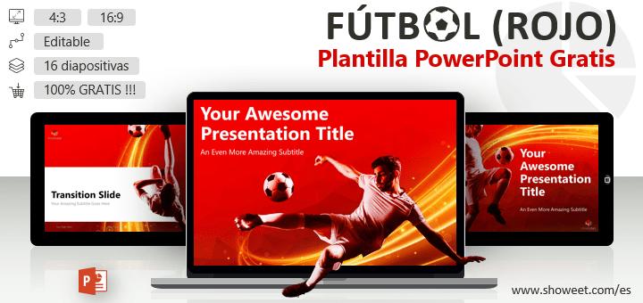 Fútbol - Plantilla de PowerPoint moderna (versión roja)