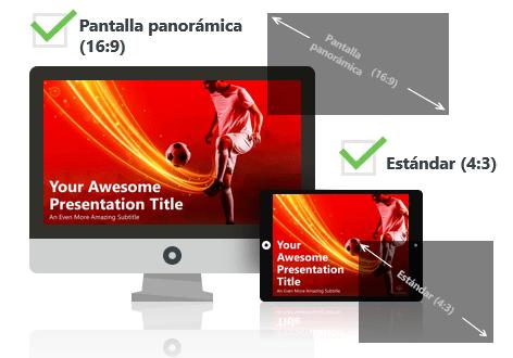 Futbol (rojo) - Plantilla PowerPoint - Pantalla estándar (4:3) y pantalla panorámica (16:9)