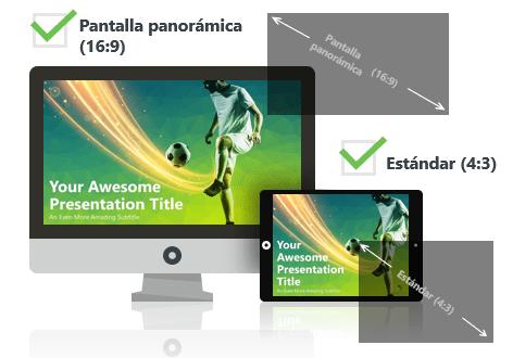 Futbol (verde) - Plantilla PowerPoint - Pantalla estándar (4:3) y pantalla panorámica (16:9)