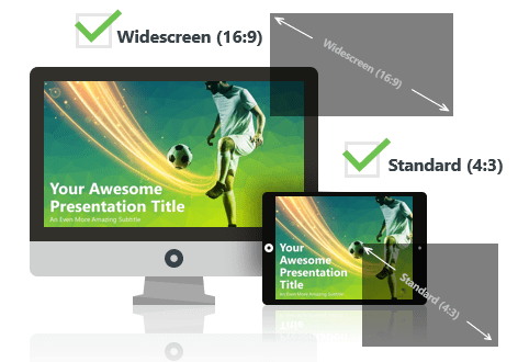 Soccer (green) PowerPoint Template optimized for both Widescreen and Standard Layouts