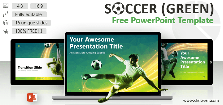 Creative and free powerpoint templates showeet soccer modern powerpoint template green version toneelgroepblik Gallery