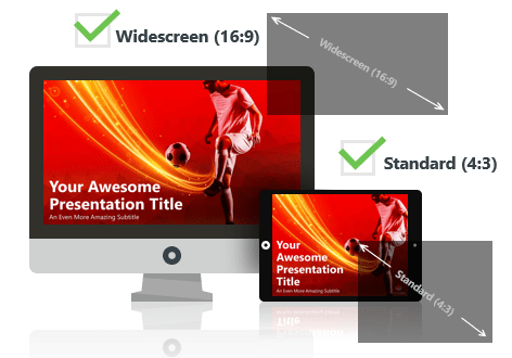 Soccer (red) PowerPoint Template optimized for both Widescreen and Standard Layouts