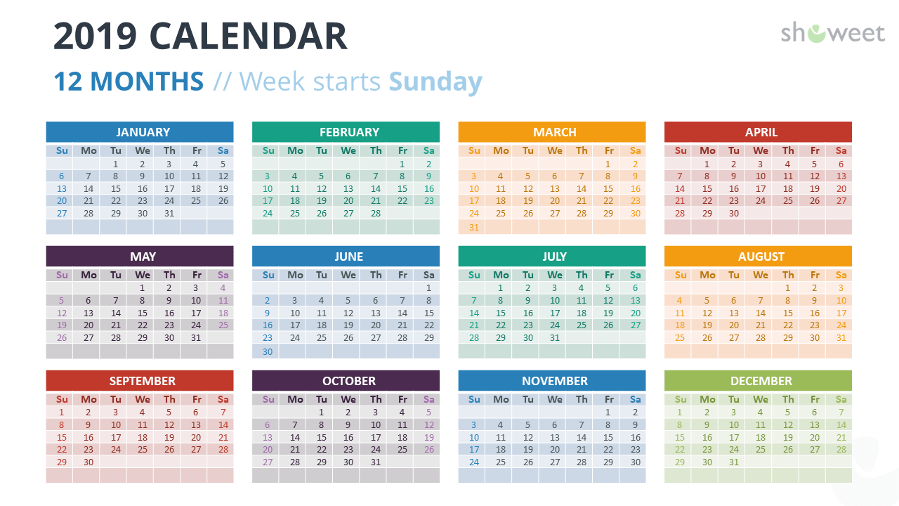 Calendar 2019 PowerPoint Template - 12 Months - Week Starts Sunday with Colors